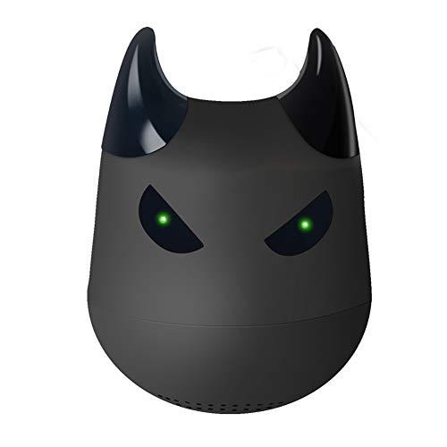 Hywot Mini Tragbarer Kleiner Teufel Drahtloser Bluetooth-Lautsprecher TWS Drahtloser Lautsprecher mit Selfie-Fernbedienungsfunktion, geeignet für Geschenk,Black