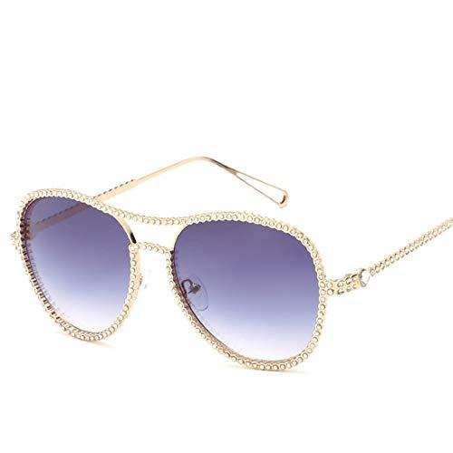Easy Go Shopping Damen Sonnenbrillen Metall runder Rahmen Strass polarisierte Sonnenbrillen. Sonnenbrillen und Flacher Spiegel (Farbe : Grey)