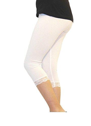 Damen hochwertiger Baumwolle weicher Stretch-Spitze unter Knie Ernte Leggings Farben & Größen Ebene 3/4(ref:2191lace), Weiß, groß (large) (Weiß Ebene)
