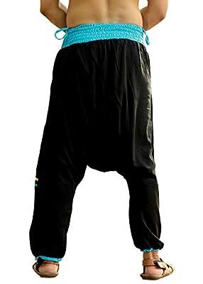 Whitewhale Mens Womens Cotton Pockets Harem Yoga Baggy Genie Hippie Pants Black