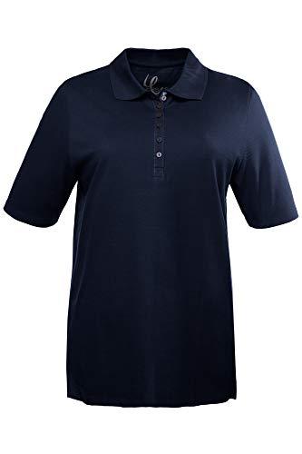 Ulla Popken Damen große Größen bis 72, Oberteil, Poloshirt, T-Shirt mit Samtband-Knopfleiste, Basic-Shirt, Polokragen, Baumwolle Marine 46/48 638837 71-46+ - Frauen Polo-shirts