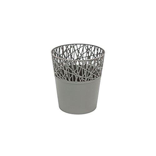 Rond cache-pot 11.5 cm CITY en plastique romantique style en gris