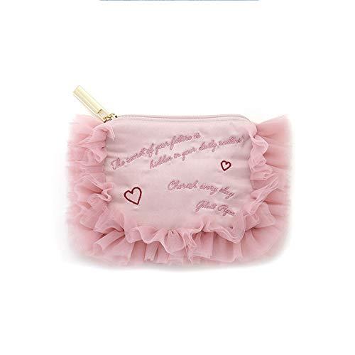 Kosmetische Aufbewahrungstasche, Reißverschluss Rosa Spitze Spitze Brief Drucken Tragbare Multifunktions-Kosmetiktasche