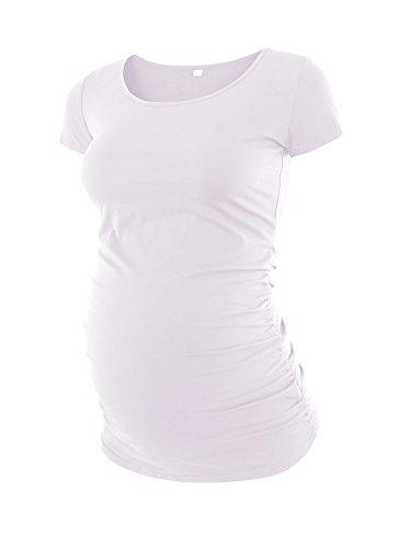 Love2Mi Damen Kurzarm Umstandsshirt Mutterschaft Klassische Seite Geraffte T-Shirt Tops Mama Schwangerschaft Kleidung, Weiß, XL (Shirt Mutterschaft)