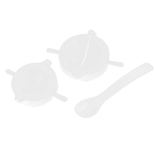 2 Stück weiß Kunststoff Teigtaschen-Former Ravioli-Former mit Löffel
