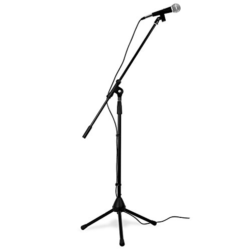 Profi Mikrofon mit Stativ Ständer mit Galgen + Mikrofonklammer & Reduziergewinde + Kabel und Transporttasche - Komplettset