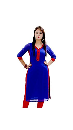 Kurti (Vipul Women's Branded Blue & Red Casual Wear Cotton Best Gift For Mummy Mom Wife Girl Friend, Offers and Sale Discount)  available at amazon for Rs.177