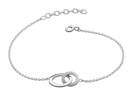 Dew Armreif aus Sterlingsilber mit sandgestrahlten ineinander verknüpften Ringen