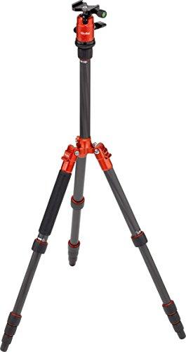 Rollei Compact Traveler No. 1 Carbon - extrem Leichtes Reisestativ aus Carbon mit Einem Packmaß von Nur 33 cm, Monopod-Funktion, Arca Swiss kompatibel, inkl. Kugelkopf und Stativtasche - Orange