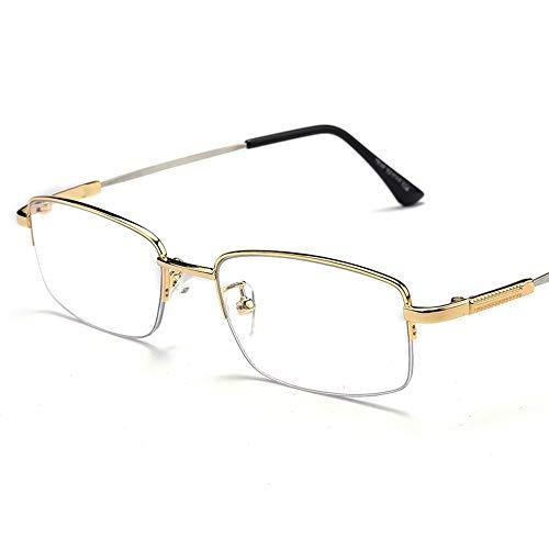 Byx- Lesebrille - Brille Konvexlinse Männlich Fern und Nah Dual-Use Intelligent Zoom Progressive Mehrfokus-Doppellicht Anti-Blaulicht -Lesebrille (Color : Gold, Edition : 350degree) - Fern Und Nah
