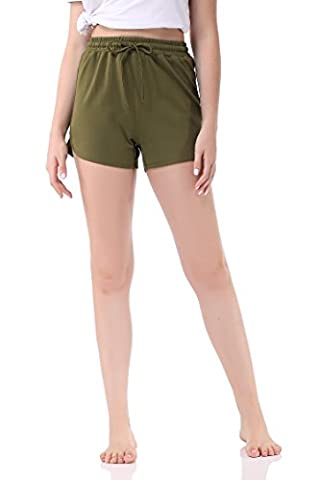 Pau1Hami1ton GP-04 Bermuda Femme Summer Shorts Solid Color Stretch Fitted Relaxed Flat Hot Walking Sport Pants(S,Green)