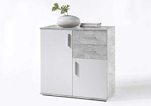 Avanti trendstore - bea - sideboard con 2 ante e 2 cassetti, disponibile in 2 diversi colori, dimensioni: lap 80x82x35 cm (grigio-bianco)