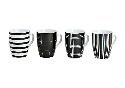 Modernes Porzellan Kaffeetassen 4er Set in 2 Farben - 10cm hoch - Ø 8cm - 300ml - Große Kaffee Tasse in Schwarz/Weiß gestreift & kariert