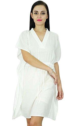 Bimba femmes Plaine Robe caftan Plage Cover Up coton Caftan solide Blanc