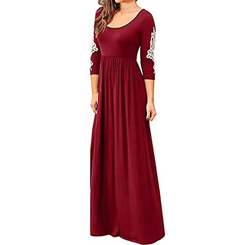 SamMoSon Maxi Dresses for Women Night Wear,Women's Dresses,Women Solid Applique Three Quarter Sleeve High Waist Boho Long Maxi Dresses,Red,XL