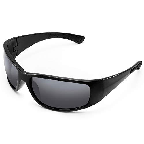 LAMEDA Sonnenbrille Herren Polarisierte Fahrradbrille Damen Motorradbrille Sportbrille mit UV400 Schutz für Radfahren Motorrad Autofahren Fischen Golf Laufen Wandern (Rahmen: Schwarz, Linse: Grau)