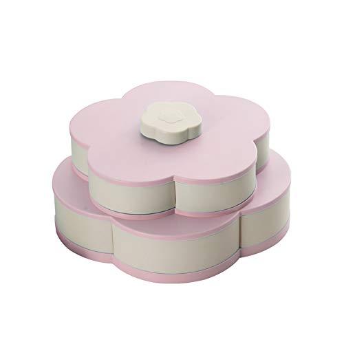 Blumen-Rotating-Süßigkeit-Kasten-Rosa 2 Schicht Getrocknete Obstteller Hochzeit Snack Serviertablett Rosa (Bloom Box)