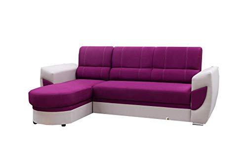 mb-moebel Ecksofa Sofa Eckcouch Couch mit Schlaffunktion und Bettkasten Ottomane L-Form Schlafsofa Bettsofa Polstergarnitur Timo (Violett, Ecksofa Links)