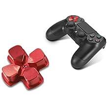 Supremery Playstation 4 DualShock sostituzione 4 tasti in alluminio pulsanti D-pad-pad di ricambio Accessori per PS4 (Red)