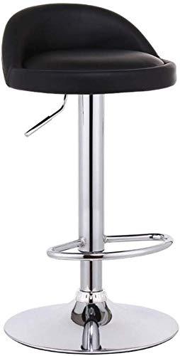 Beakjiful Stuhl Hoher Hocker Barhocker Stuhl Fußstütze mit runder schwarzer PU-Sitzlehne Einstellbarer Gaslift 60~80 cm für Frühstücksbar |Café Barhocker 41cm Gestell verchromt max.Laden Sie 150