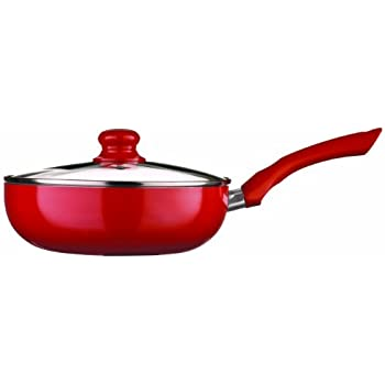 Premier Housewares Ecocook Frying Pan with Glass Lid - 24 cm, Red