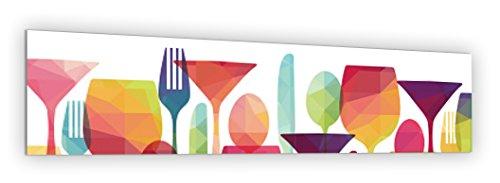 """Crédence de cuisine en Panneau composite aluminium ou fond de hotte de cuisine prêt à poser avec adhésif double face - L. 180 x H. 50 cm - Epaisseur 3 mm """"Illustration couverts origami"""" - [Impression Murale®]"""