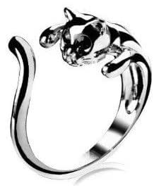 Schmuck Ring, silber / schwarz vernickelt Katze Formring