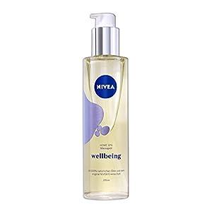 NIVEA HOME SPA Massage Oil Wellbeing mit dem unvergleichbaren Duft der NIVEA Creme, praktische Dosierpumpe, Massageöl, Massage Öl, 1 x 170 ml