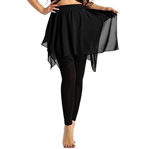 dPois Damen Sport Leggings mit Chiffon Lang Sport Hose mit Asymmetrische Rock Skate Wrap Skirt Wickelrock Frauen Hosenrock Yoga Ballett Latein Salsa Tango Rock Dancewear Schwarz X-Large -