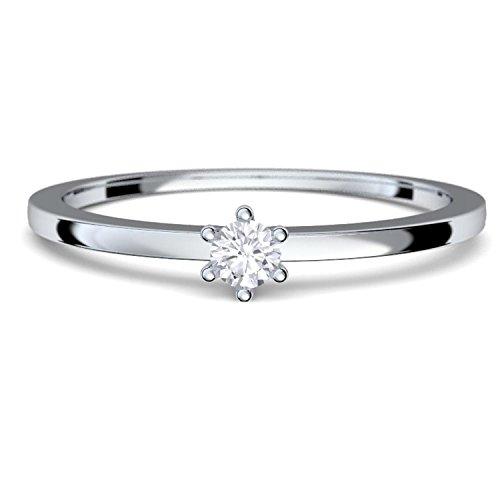 Verlobungsringe Weißgold Ring 585 Diamant Ring 0,05 Carat H/si **sehr gute Qualität** + inkl. Luxusetui + Diamantring solitär schmal dünn Echtschmuck Diamantring Weißgold 0,05 FF50WG585BRFA50 (Weißgold Diamant Ring Damen)