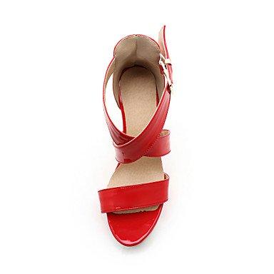 LvYuan Da donna-Sandali-Matrimonio Formale Serata e festa-Club Shoes-Quadrato-PU (Poliuretano)-Nero Rosso Bianco Tessuto almond Black