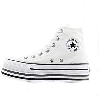 Converse Chucks Plateau 564485C Chuck Taylor All Star Platform Layer HI - White Black Thunder, Bianco (bianco nero), 42 EU
