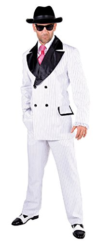 M217206-L weiß Herren Gangster-Mafia-Ganoven Kostüm - Herren Weiß Gangster Kostüm