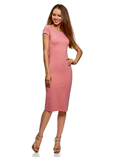 oodji Collection Donna Abito Midi con Scollo Profondo sul Retro, Rosa, IT 40 / EU 36 / XS