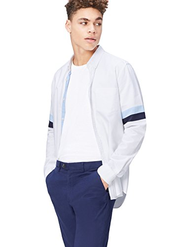 FIND Camisa Óxfordde Corte Entallado para Hombre, Blanco (Striped), XX-Large