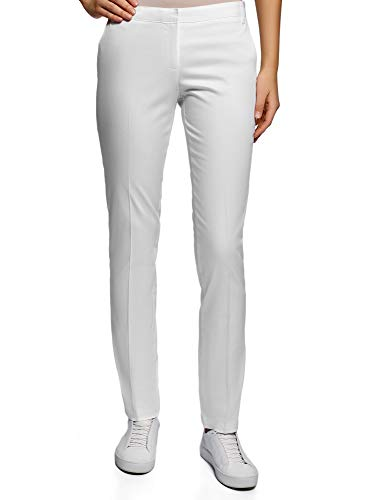 Oodji ultra donna pantaloni basic estivi, bianco, it 44 / eu 40 / m