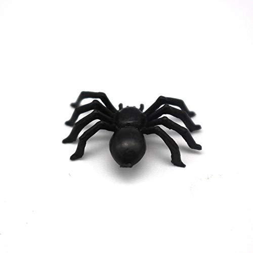 EROSPA® 50 Stück Schwarze Spinnen für Party-Dekoration | Halloween - Grusel - Horror | 2,5 x 1,5 x 0,7 cm - 5