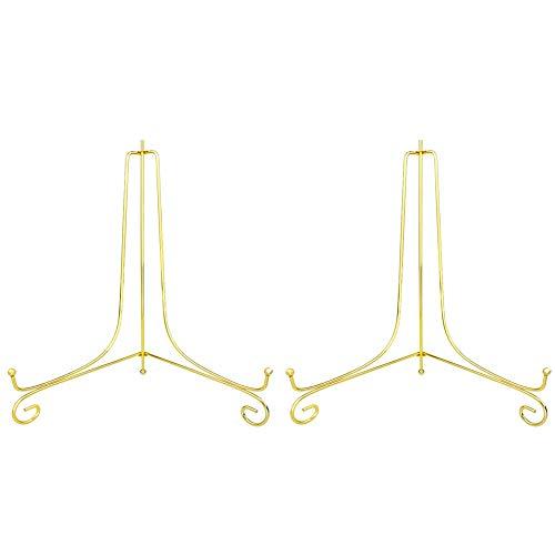 Tincogo Gold Metall Tellerständer Tellerhalter Eisen Staffelei Display Ständer für Schüssel Teller Kunst Foto Bilderrahmen(12 Zoll)