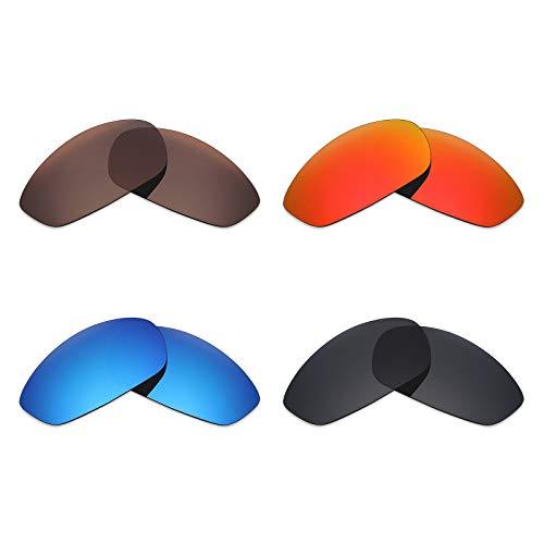 Mryok polarisierte Ersatzgläser für Oakley Whisker Sonnenbrille - Stealth Black/Fire Red/Ice Blue/Bronze Braun, 4 Paar