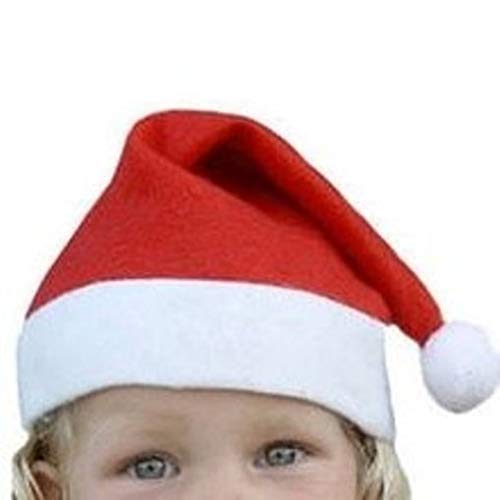 (3 x Kinder Weihnachtsmütze rot weiß L x B 32 x 23 cm Nikolaus Mütze Bommel Weihnachten Weihnachtsmarkt Nikolausmütze fürs Kostüm Weihnachtsmann Gruppe Verein Kindergarten Schule Fußball)