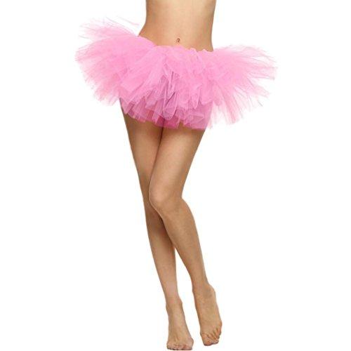 Mädchen Elastic Stretchy Tüll Kleid Erwachsenen Tutu 5 Schicht Rock (rosa) (Adult Kleine Mädchen-kleid)