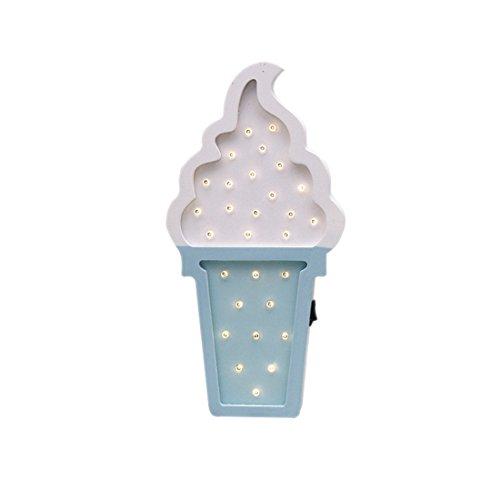 TOOGOO Weisses Blau Nordischen Stil Eis-Form LED Holz Cartoon Nachtlicht Wandbehang Dekorative Lampe Kinderzimmer Dekoration Foto Requisiten