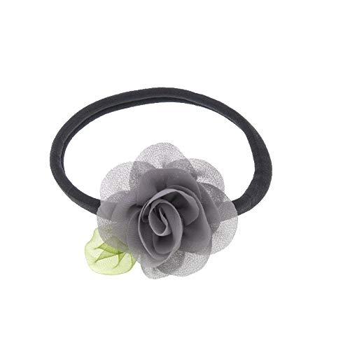 ädchen Nylon elastisches Stirnband Chiffon Blumen Stirnband Kinder niedlich Zubehör Kinder Blatt Blumen Headwear (Color : Gray, Size : Size fits All) ()