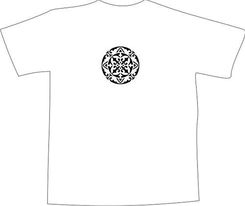T-Shirt E1143 Schönes T-Shirt mit farbigem Brustaufdruck - Logo / Grafik / Design - abstraktes Ornament mit schönen Ranken und Blättern Schwarz