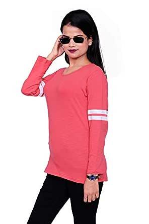 Plush Women's Cotton Full Sleeve Round Neck Regular Fit Tshirt/Tshirts(PWT-08)