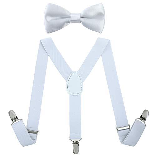 AWAYTR Kinder Jungen Hosenträger Fliege Set - Verstellbar Elastisch Hosenträger mit Krawatte Set für Jungen & Mädchen (Weiß) (Weiße Fliege Kleinkind)