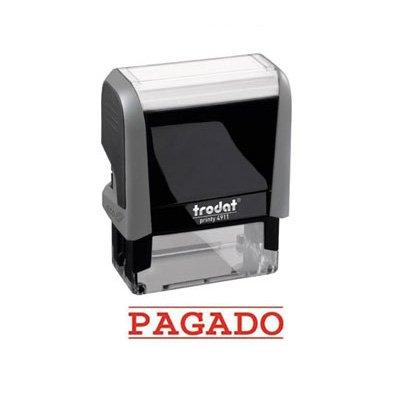 Trodat sello con impresion de texto estándar.formula pagado tamaño impresion 38x14mm.