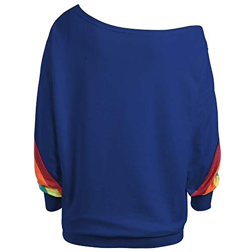 XNBZW Tops Womens Blouse Sweatshirt Casual Long Sleeve Rainbow Print Off Shoulder Shirt Pullover Jumpers Chirstmas (Outfit Maroon Leggings)