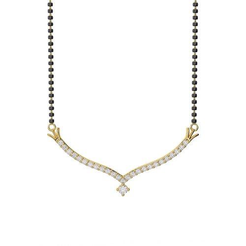 Or jaune 18carats 0,21CT G-H/VS sertie de diamants ronds Cut Mangalsutra Collier Ims-1755