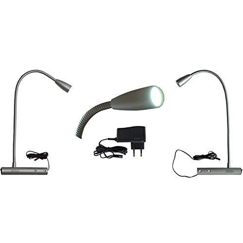 L&E®22222540 - LED Bettleuchte Bettlampe Leselampe Nachttischleuchte 2er Set für linke und rechte Bettseite (kalt weiss); - Link 2 Licht